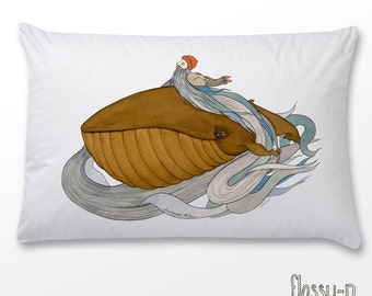 Seabeard McGee pillowcase. Illustrated, printed pillowcase. Pillowslip. Whale. Sea. Sailor. Australian gift with orginal art by flossy-p