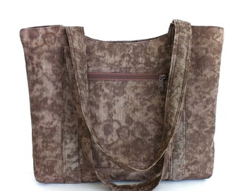 Fabric tote bag , vegan women purse , brown cotton handbag , teacher tote bag , shoulder tote purse , vegan tote bag