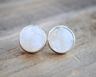 White Druzy Earrings. Silver Setting. Bridesmaids Earrings.