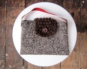 Tweed handbag small brown purse leather handle wool bag knitted flap memake handmade fashion