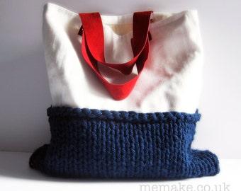 Linen tote white navy blue knit bag red suede leather handles nautical purse memake handmade handbag