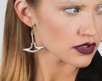 Hammerhead Earrings - White Metal and Sterling Silver Dangle Earrings - Handmade by Queens Metal