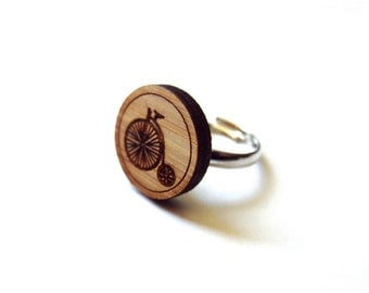 Pennyfarthing Ring. Bicycle Ring. Bike Ring. Wood Ring. Gifts Under 25. For Her. Cyclist Gift. Cycling Ring. Bike Jewelry. Girlfriend Gift