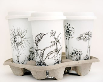 Custom Botanical Drawing on White Ceramic Eco Friendly Travel Mug
