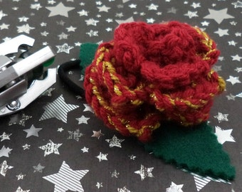 Clara Oswin Oswald - Crocheted Rose Ponytail Holder or Bracelet - Dark Red and Gold (SWG-HP-DWCO01)