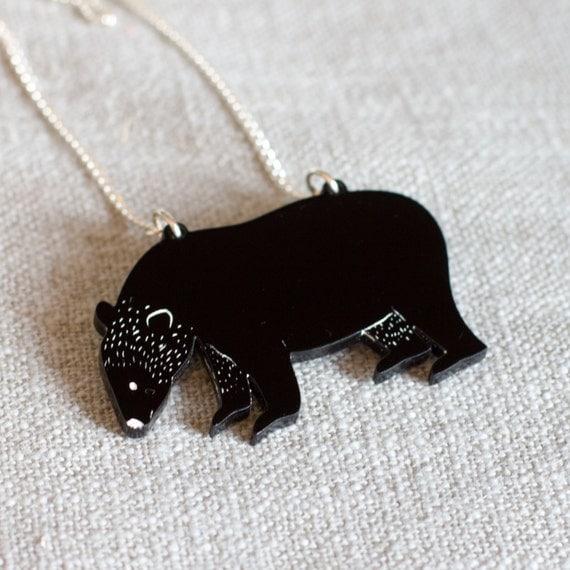 Bear Necklace - bear jewellery - bear jewelry - bear pendant - black bear - animal necklace - bear gift - gift for animal lover