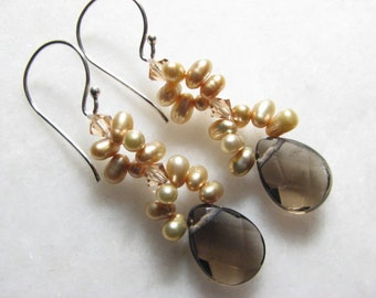Sale- Smokey Quartz and Champagne Freshwater Pearl Earrings