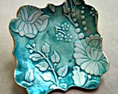 Ceramic Damask trinket bowl Jewelry Holder Dish Teal and White edged in gold