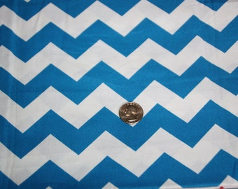 Chevron - David Textiles Fabric - Just over One yard - Blue on White