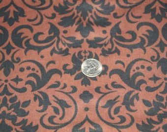 Brown and Black Damask Fabric - One Yard - Marshall Dry Goods