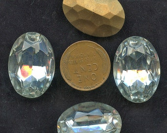 Large Oval CLEAR RHINESTONES  (5) Vintage Glass 18 mm x 25 mm Gold Foil Back crystal jc 1825 MORE AVAlLABLE