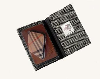 Grey Business Card Case ID Harris Tweed Herringbone  ID Personalised Hand Crafted Gift