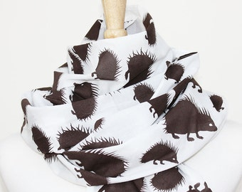SALE Organic Cotton Voile Scarf - Espresso Hedgehogs