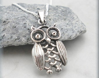 Owl Necklace, Filigree Jewelry, Sterling Silver, Owl Lover, Bird Necklace, Owl Jewelry, Graduation Gift, Wise Owl (SN775)