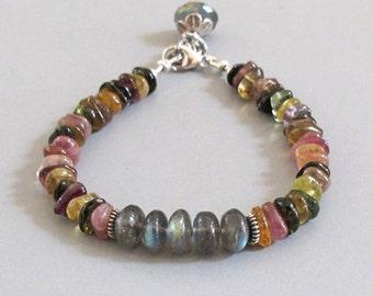 Tourmaline Labradorite Bracelet Sterling Silver Bead DJStrang Gemstone Color Flash Boho Cottage Chic