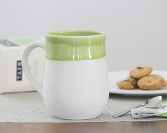 SALE Mug in Green - second - Naked Mug in Olive Green - Discounted Mug - Mug with Handle