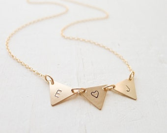 Gold Pennant Necklace - Bunting Charms with Initials Goldfilled Triangle Links