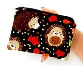 Hedgehog Haven Little Zipper Pouch ECO Friendly Padded Coin Purse Gadget Case