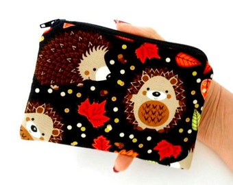 Hedgehog Haven Little Zipper Pouch ECO Friendly Padded Coin Purse Gadget Case