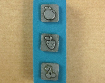 """1/2"""" Fruits Ornamental Stamps by Melody Ross / Set of 3 / Use On Chipboard And Leather"""