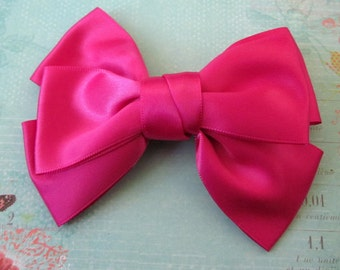 2 Hot Pink Satin Bow Hair Clips