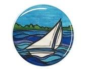 Sailboat magnet, pinback ...