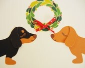 Teriyaki and BBQ the Dachshunds Doxies Holiday Christmas Wreath with Red Ribbon Blank Note Card with Envelope