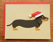Teriyaki the Dachshund Doxie Holiday Christmas Wearing Felt Santa Hat Blank Note Card with Envelope