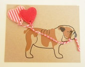 Valentine's Day Evie the English Bulldog Balloons with Red Hearts Felt Applique Note Card with Envelope