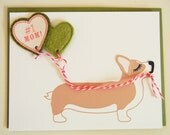 Mother's Day Jer Jer the Welsh Corgi #1 Mom! Balloon with Green Hearts Felt Applique Note Card with Envelope