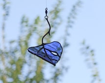 Nature Inspired Gift - Blue Aspen Leaf from Reclaimed Bottle Glass - Unique Home Decor