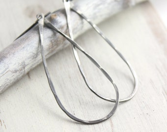 Forged Silver Teardrop Hoop Earrings