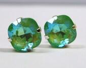 Lime Green Crystal Stud Earrings Classic Sparkling Ultra Seafoam Mint Solitaire Swarovski 12mm Big Sterling Post & Copper Women's Jewelry