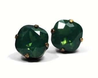Emerald Green Opal Crystal Stud Earrings Sparkling Kelly Shamrock Solitaire Swarovski 10mm Sterling Post & Copper Palace Jade Sage Moss
