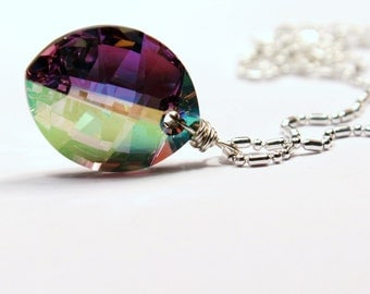 Rainbow Pure Leaf Crystal Necklace Rare Fat Swarovski Cal AB Metallic Drop Fancy Sterling Silver Balln Chain Handmade Sparkle Purple Pink