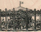 Carousel rubber stamp circus carnival ride 19286  under big top scrapbooking supplies wood mounted unmounted cling stamp
