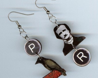The Raven Earrings - Edgar Allan Poe Poem -  typewriter key jewelry - asymmetrical earring Designs by Annette - poet readers literary gift