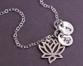 Lotus Necklace, Personalized Yoga Jewelry, Sterling Silver Lotus Necklace with Om Charm
