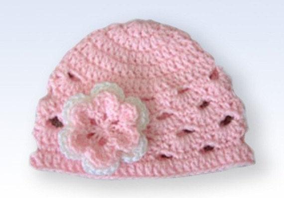 Baby Girl Beanie, Crochet Baby Hat, Newborn Beanie, Baby Newborn Hat, Baby Girl Hat, Pink White, Newborn Baby Hat, Newborn Prop