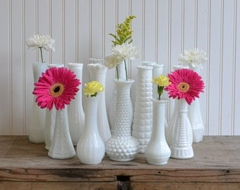 16 Milk Glass Bud Vase Set