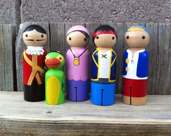 Jake and the Neverland Pirates PegBuddies peg dolls Jake, Captain Hook, Scully, Izzy, and Cubby.