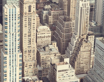 Metropolis #2 - New York Photography, Office Decor, NYC, Pastel Pink Aerial View of Manhattan, Urban, Skyscrapers