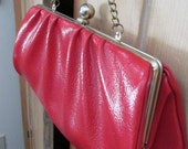 Vintage Red Purse Mod Red Thick Rubbery Pleather Purse Go Go Girl Evening Bag 1960s