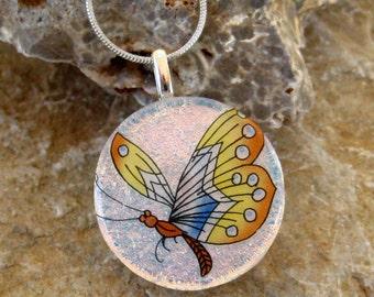 Round  Dichroic Fused Glass Pendant, Dichroic Butterfly Pendant, Dichroic Glass Pendant - Round  Butterfly Pendant