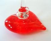 Hand Blown Art Glass Heart Ring Dish Holder Display Stand Jewelry Storage and Organization by Rebecca Zhukov