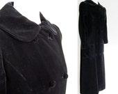 Vintage Black Velvet Opera Coat / Long Dress Coat / Lux Double Breasted fitted Pea Coat / Elegant / Duster ooak S M