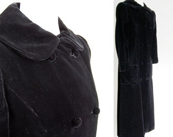 SALE vintage Black Velvet Opera Coat / Long Dress Coat / Lux Double Breasted fitted Pea Coat / Elegant / Duster ooak S M