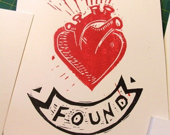FOUND LOVE anatomical heart valentine anniversary wedding card hand printed linocut card with envelope tattoo style linocut romantic retro