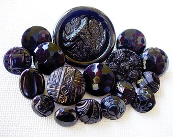 Nice Lot of Various Vintage Fancy Designed Black Glass Buttons
