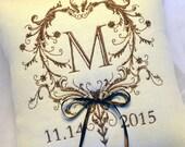 Wedding Ring Pillow Monogram in Filigree
